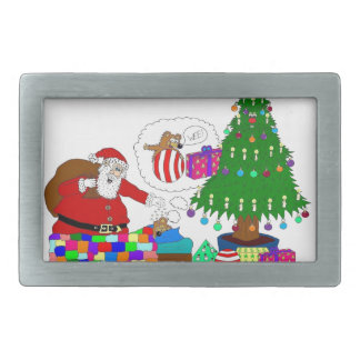 Santa and Yabba beside the Christmas tree Rectangular Belt Buckles