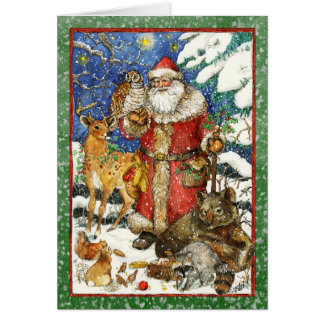 SANTA & ANIMAL FRIENDS GREETING CARD
