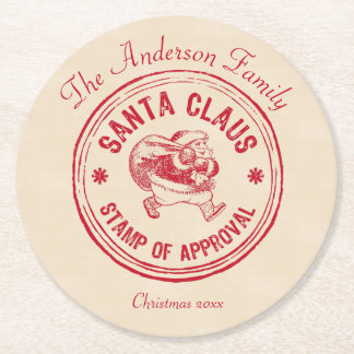 Santa Approved - Personalise It - Funny Round Paper Coaster