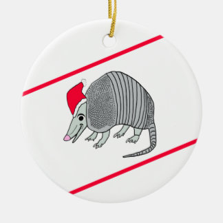 Santa Armadillo Christmas (white background) Ceramic Ornament