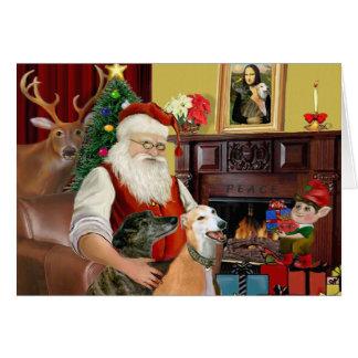 Santa At Home Greyhounds (two) Greeting Cards