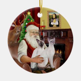 Santa at Home - Two Siamese Cats Ceramic Ornament