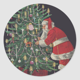 Santa At The Christmas Tree Round Sticker