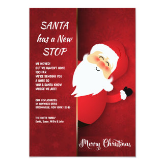 Santa At The Door New Address Holiday Card