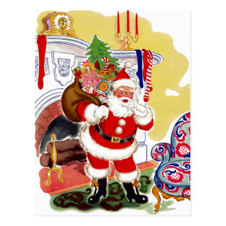 Santa at the Fireplace Bringing Toys Postcards