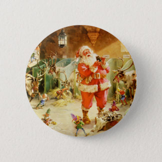 Santa at the North Pole Reindeer Stables 6 Cm Round Badge