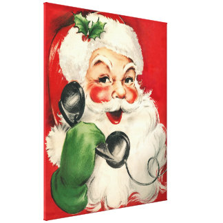 Santa at the Phone Canvas Print