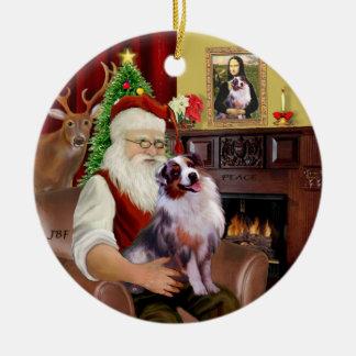 Santa - Aussie Shepherd 1 Ceramic Ornament