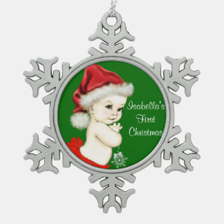 Santa Baby Girls 1st Christmas Pewter Snowflake Decoration