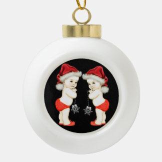 Santa Baby Twin Baby Boy Christmas Ceramic Ball Christmas Ornament