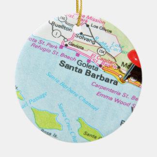 Santa Barbara, California Ceramic Ornament