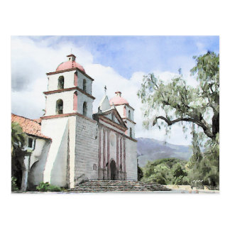 Santa Barbara Mission Watercolor Postcard