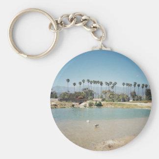 Santa Barbara's Beach Basic Round Button Key Ring