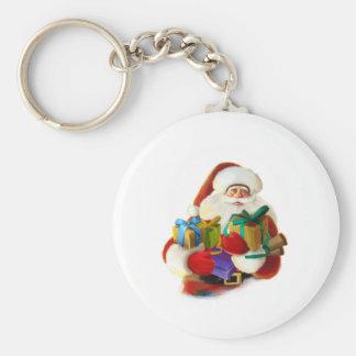 Santa Basic Button Keychain