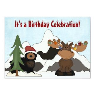 Santa Bear and Holiday Moose Mountain Birthday Card