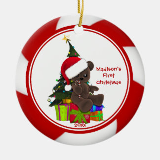 Santa Bear Baby's First Christmas Ornament