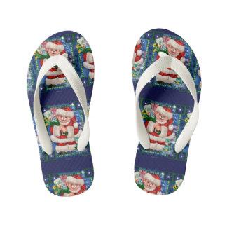 SANTA BEAR CHRISTMAS CARTOON Flip Flop shoes kids