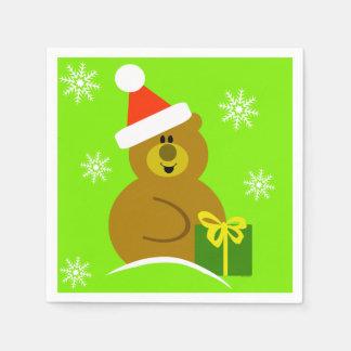 Santa Bear Christmas Paper Napkins