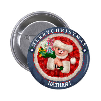 SANTA BEAR CHRISTMAS SMALL BUTTON 2¼ Inch