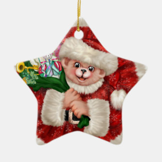Santa Bear Christmas Star Ornament