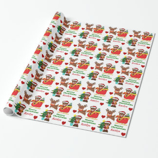 Santa Bear Sleigh Personalized Kids Wrapping Paper