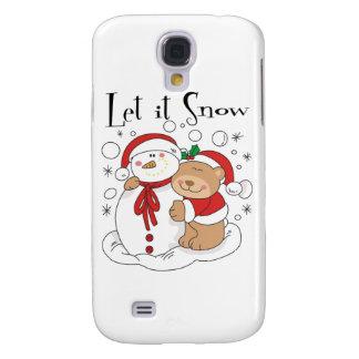 Santa Bear & Snowman Let It Snow Samsung Galaxy S4 Covers