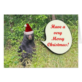 Santa Bear Wishing You a Merry Christmas Card