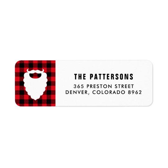 Santa Beard Red Plaid Holiday Return Address Label