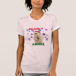 santa bearly awake women/s mens Christmas design T-Shirt