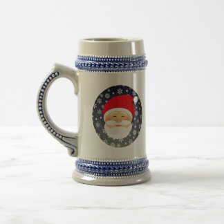 Santa Beautiful Christmas Snowflakes Stylish Chic Beer Stein