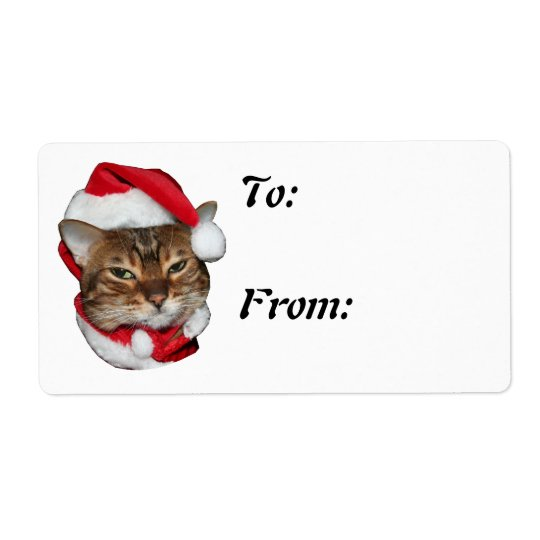 Santa Bengal Cat Christmas Tag To From Shipping Label