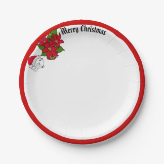 Santa Bird & Poinsettias Wish Merry Christmas Paper Plate