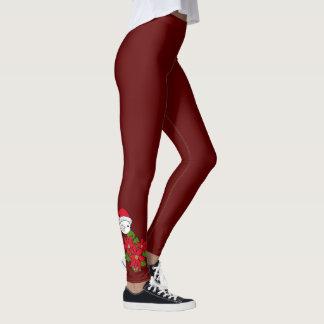 Santa Bird with Christmas Poinsettias Leggings