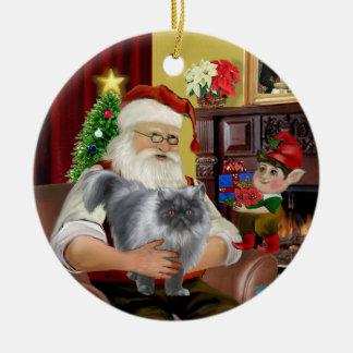 Santa - Blue smoke Persian cat Ceramic Ornament