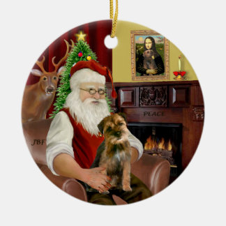 Santa - Border Terrier 1 Ceramic Ornament