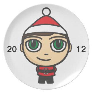 Santa Boy Cartoon Character Plate