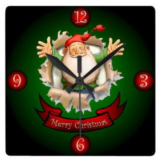 Santa Breakthrough ~  Merry Christmas Greetings ~ Square Wall Clock
