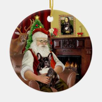 Santa-Brindle French Bulldog Round Ceramic Decoration