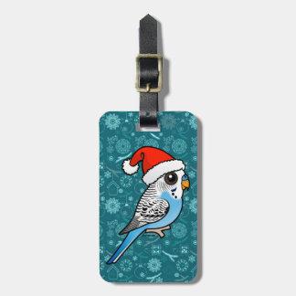Santa Budgie Blue Luggage Tag