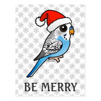 Santa Budgie Blue Postcard