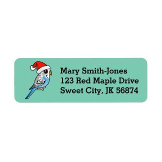 Santa Budgie Blue Return Address Label