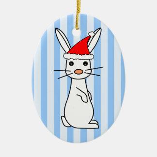 Santa Bunny - White with Blue Stripes Ceramic Ornament