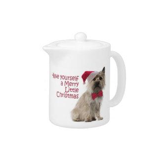 Santa Cairn Terrier Teapot