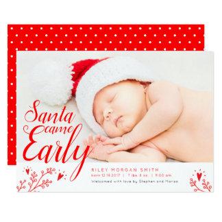 Santa Came Early Newborn Christmas Card