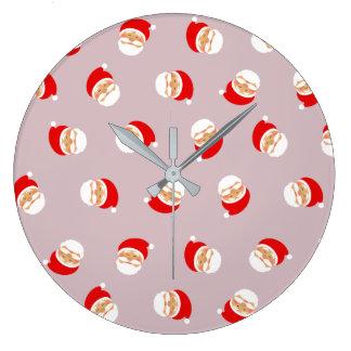 Santa Cartoon Cute Funny Pattern Chic Trendy Cool Large Clock