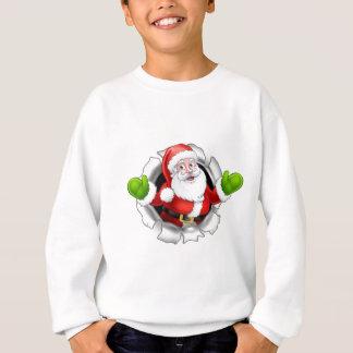 Santa Cartoon Tearing Through a Background Sweatshirt