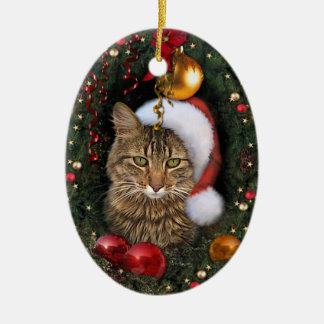 Santa Cat Ceramic Oval Decoration