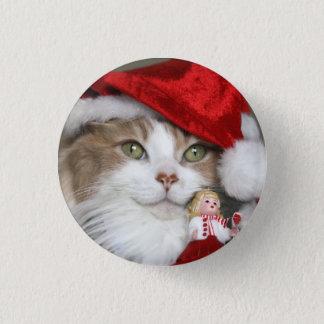 Santa cat - christmas cat - cute kittens 3 cm round badge