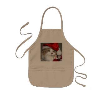 Santa cat - christmas cat - cute kittens kids apron