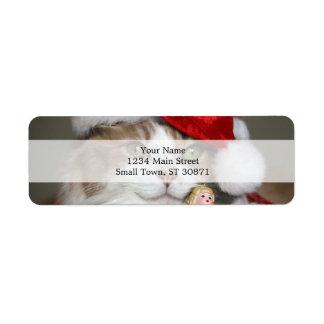 Santa cat - christmas cat - cute kittens return address label